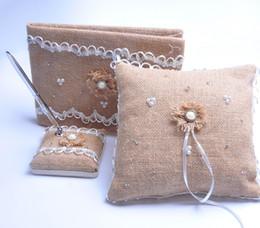 3Pcs lot Burlap Hessian Lace Decor Wedding Guest Book& Pen Set &Ring Pillow Decoration Bridal Products