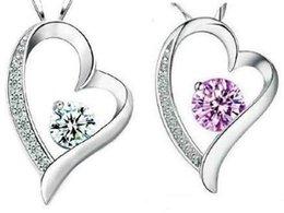 Birthday Christmas Gift! 925 Sterling Silver Amethyst Crystal Romantic Love Heart Necklace Pendant