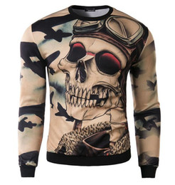 Wholesale fashion men sweatshirt hoodies o neck printed d skulls pattern design mens pullover sweater hoodies