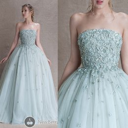 Wholesale Strapless Dress Puffy Skirt - 2015 Paolo Sebastian Prom Dresses Ball Gowns Strapless Beading Sequins Beads Appliques Puffy Tulle Skirt Green Floor Length Evening Dress