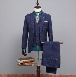 Wholesale Cheap Plaid Pants For Men - Wholesale-2015 New Arrival Handsome Plaid Blazer Men With (Jacket + Vest + Pants) Cheap Tuxedo Hot Sale Men's Suits For Formal Occasions