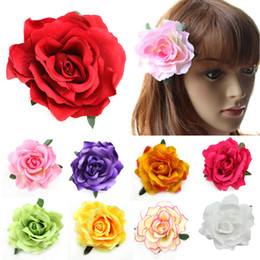 Wholesale-Flocking Cloth Red Rose Flower Hair Clip Hairpin DIY Headdress Hair Accessories For Bridal Wedding