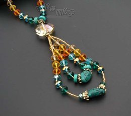 Wholesale Korean jewelry handmade colorful crystal simple fashion wild ladies long sweater chain necklace lanyards Accessories