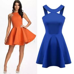 spring summer new Womenswear wholesale sexy cross back cut out pleated skater dress orange blue white