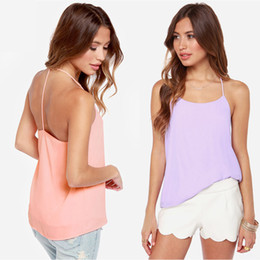 Wholesale-Sexy Back T Condole Belt Double Solid Perspective Chiffon Camis 2015 New Fashion Blusas Top Tees Body Shirt Fitness