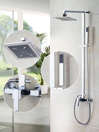 Wholesale Ouboni Shower Set Torneira Spray quot Square Shower Head Bathroom Rainfall Bath Tub Chrome Brass Sink Faucets Mixers Taps
