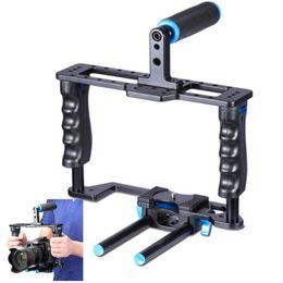 Feuillets vidéo en Ligne-YELANGU CNC Usinage 15mm double-barillet poignée poignée antidérapante support appareil photo pour DSLR Canon Nikon Pentax Sony Olympus etc