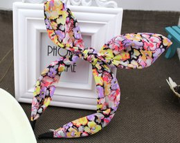 Wholesale B149 spring and summer sea wind Korean Korean Floral Chiffon bow plastic molding wire rabbit ears hair bands