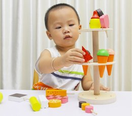 Wholesale Wooden Building Block Ice Cream Toy Bench Model Toys New Educational Baby Toy for Children Birthday Gift