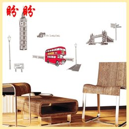 Wholesale bedroom decoration XY1111 fashion England style building wall stickers creative stickers car stickers