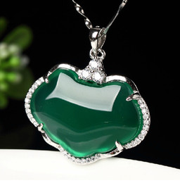 Natural light green chalcedony charm pendant hand-carved charm good luck Safety lock pendant necklace