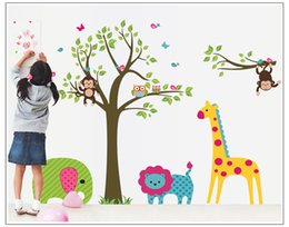 Wholesale Wall Stickers Sweet Creative Children Room Sticker Removable Cute Home Decor PVC Colorful Wall Decal New Cartoon Zoo Pattern Sticker Poster