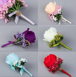 Wholesale Wedding Corsages For Groomsmen Colors Fancy Coloured Diamond Simulation Of Roses Champagne Blue Purple Bride And Groom Corsage Cheap