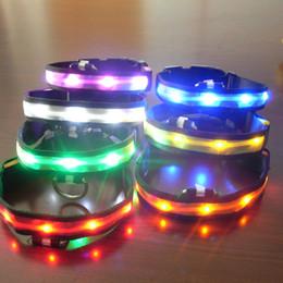 New Nylon LED Cat Dog Pet Collars Pet Shop Flashing Light Up Safety Collar Size S M L XL #3201