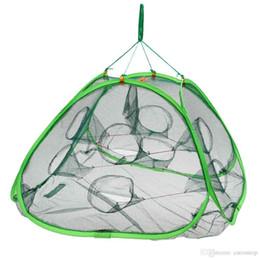 Купить Онлайн Креветки для рыб-Высококачественная 8-луночная автоматическая открытая креветочная ловушка для ловли ловушки для рыболовов с сеткой 75 * 75 * 45 см для рыболовной сети Y2266