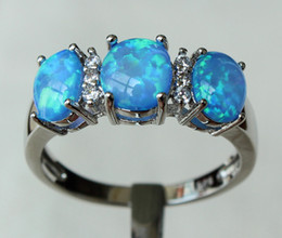 Wholesale Nice Three Stone Blue Fire Opal Ring For gift