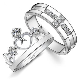 Couple rings Crown Cross 925 Sterling Silver with zircon for lovers men and women