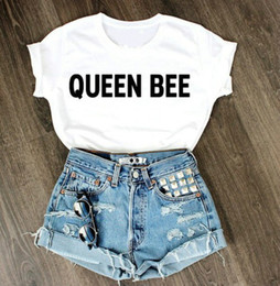 Wholesale Summer Woman T shirts QUEEN BEE Print Casual Graphic Tees Women Short Sleeve Tunic Tshirts Tops Cheap Women Clothing