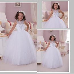 Vintage Flower Girl Dresses Wedding Gowns Beads Halter Floor Length White Tulle Flower girl dresses for Wedding
