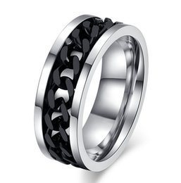 Free Engraveing 8mm Chain Inlay Wedding Rings in Stainless Steel Personalized Spinner Rings - Silver, Gold, Black, Rainbow
