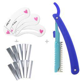 Wholesale Eyebrow Shaping Stencils Shapers Razor Blades Holder DIY Beauty Tool Set Makeup Kit
