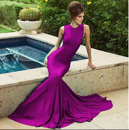 Romantic Mermaid Purple Long Evening Dresses With O-Neck Sleeveless Bodice Sexy Formal Occasion Party Prom Dress Gowns For Women Cheap