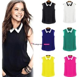 Wholesale Spring summer leisure chiffon shirts jacket lapel fashionable women s wear sleeveless bump color chiffon dress OXL052201