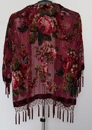 Free Shipping roses Velvet jacket-BURGUNDY