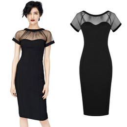 Free shipping Women Mesh Fashion Bodycon Stretch Cocktail Club Wear Party Evening Pencil Dress Black ound-neck Knee-length 1869