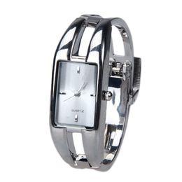 Wholesale 2015 New Elegant Fashion Women Wrist Watch Square Women Bracelet Bangle Alloy Analogy Wrist Watch Freeshipping