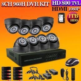 8CH HDMI DVR 4PCS 800TVL IR Outdoor Indoor Weatherproof CCTV Dome Camera 24 LEDs Home Security System Surveillance Kits1TB HDD