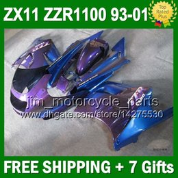 93-01 For KAWASAKI NINJA ZX11 ZZR1100 Purple blue ZX-11 3J620 ZZR 1100 11 ZX11R 1993 1995 1996 1998 Purple blue 1999 2000 2001 Fairing