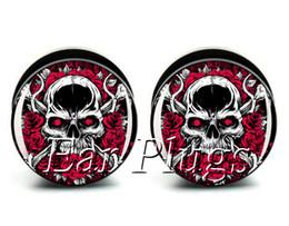 Wholesale ear gauges 60pcs bag rose bone skull ear plug gauges tunnel ear expander ASP0481
