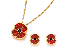 Gold Tone Red Enamel and Rhinestone Crystal Diamante Poppy Pendant Necklace and Earrings Royal British Legion Jewelry