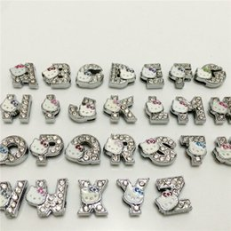 Wholesale 52PCS Lot 8MM Full Rhinestones hello kitty Slide Letters A-Z Alphabet DIY Slide Charms Fit 8MM Wristbands Bracelets Belts SL15