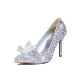 Wholesale 2016 New Crystal Women s Rhinestone Bridal Heels Wedding Party Prom Evening Dance Glitter Cinderella Princess Leather Pumps