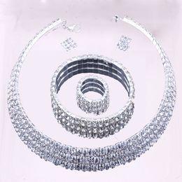 Wholesale New design high quality full Rhinestone bridal Zinc Alloy Jewelry Sets noble jewelry wedding accessory