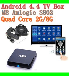 Wholesale M8N K Smart Android IPTV OTT TV BOX GB RAM GB Quad Core Bluetooth Amlogic S802 kodi15 Fully Loaded Google Play Store Download free