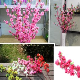 Wholesale-Artificial 4 colors Cherry Peach Blossom DIY Artificial Silk Flowers For Home Party Decoration And Flower Arrangement