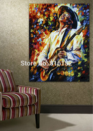 Wholesale Palette Knife Painting Jazz Music Guitarist Soul Play Picture Printed On Canvas For Home Office Wall Decor Art