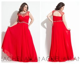 Wholesale 2015 Rachel Allen Plus Size Prom Dresses Sheer Scoop Red A Line Chiffon Backless with Beaded Long Formal Party Evening Gowns Custom DH06