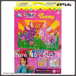 Wholesale-free shipping 1pc diy mosaic by numbers kits rabbit msaic sicker puzzle gifts educational toys great fun