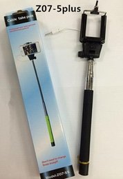 Wholesale Z07 plus plus s Wireless groove Monopod Bluetooth Selfie Stick cable take pole Extendable monopods with Remote for iPhone IOS Andriod