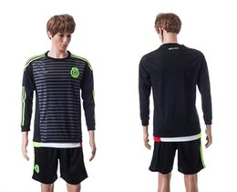 Wholesale 2015 Mexico Long Sleeve Soccer Kits Black Jersey Short Sports Uniforms Football Jersey brand new with logo tags custom name number