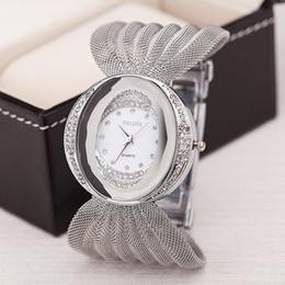 DHL Luxury Mesh wrist watch oval gold bracelet alloy quartz watch for women dress watches rhinestone women's watches wholesale wristwatches