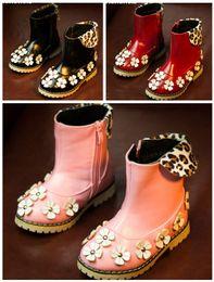 Wholesale 26 yards beautiful flowers lapel leopard velvet princess casual zipper boots winter warm tube children sports boots pair ly