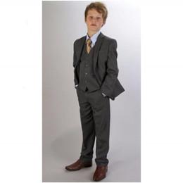 Banquetes Slim Fit Tres Piezas Boy Trajes muesca solapa smoking con corbata niños vestidos formales moderna para niños Trajes