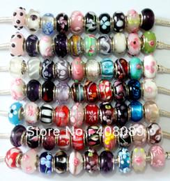 Wholesale 200Pcs Lampwork Glass Beads Big Hole Murano Glass Charm Bead For Pandora Bracelet Charm Bracelets & Necklace Mix Color