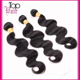 Promotion peut teindre remy extensions de cheveux 30% de rabais Unprocessed Virgin Malaysian Wavy Hair Corps Wave Brésilienne Péruvienne Vierge Remy Extensions de cheveux Trame peut être teint Couleur 1b #