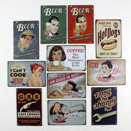 Wholesale Vintage coffee decorative painting iron products derlook walls wall stickers beer lady metal painting